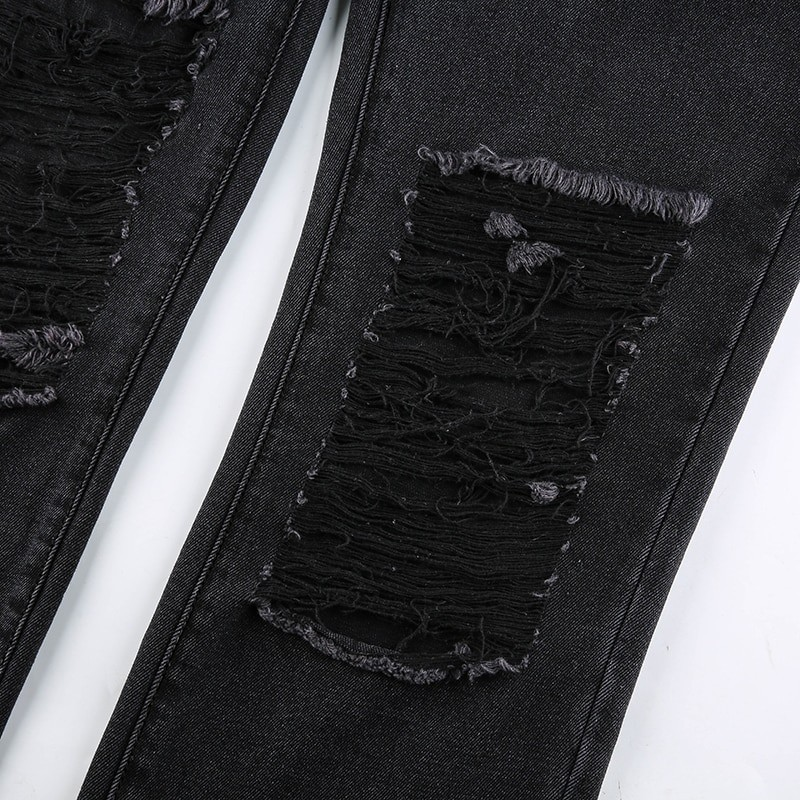 E-girl Punk Grunge Y2K High Waist Jeans with Holes 48