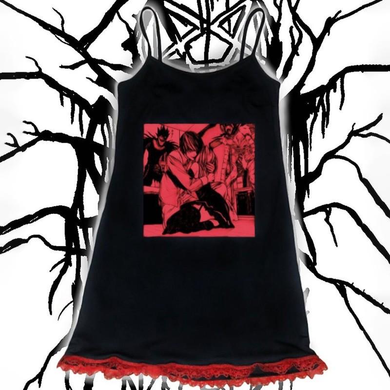 Aesthetic Pastel Gothic Egirl Mini Dress with Anime Death Note Print 45