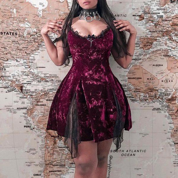Aesthetic Gothic Egirl Grunge Vintage Velvet Mini Dresses 1