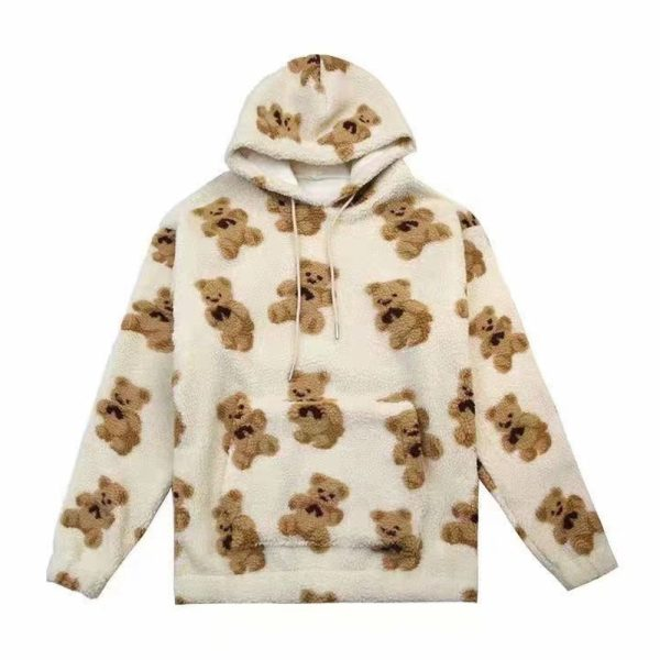 Harajuku Soft girl E-girl E-boy little bear Pattern furry Hoodie 5