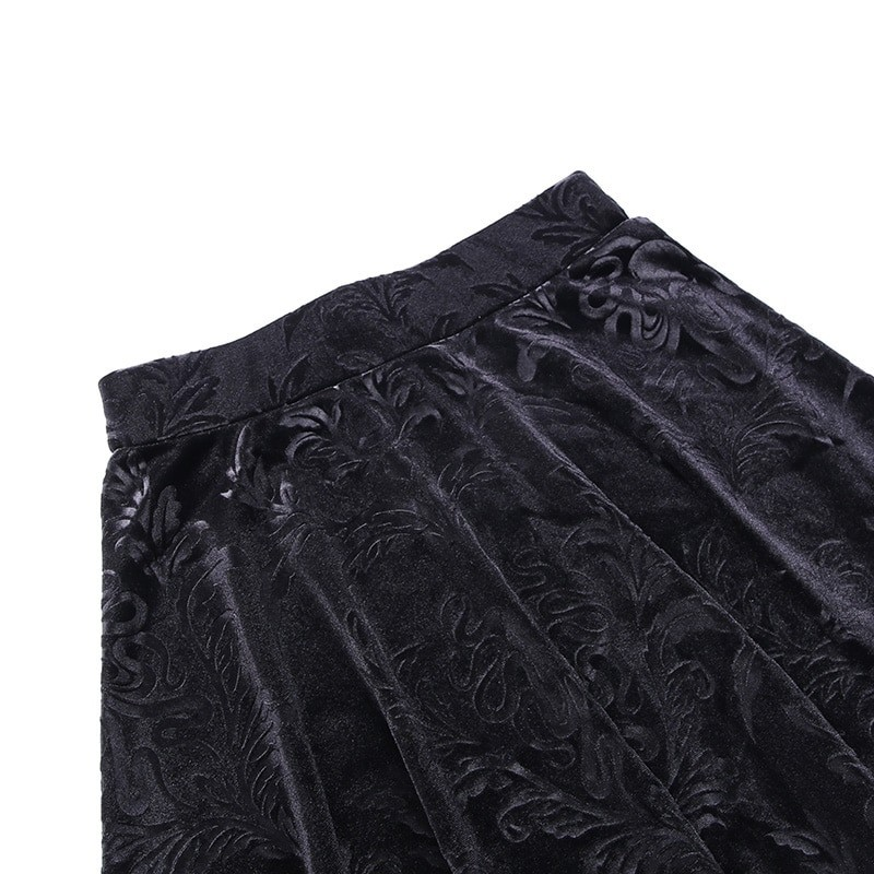 E-girl Pastel Gothic Velvet Skirt with Lace 47