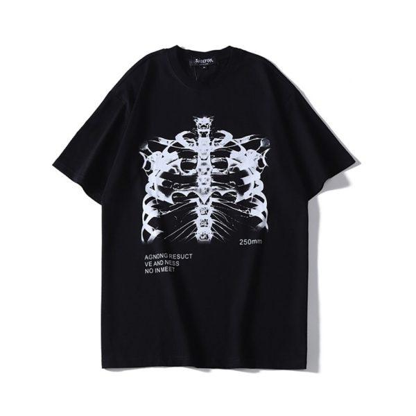 Gothic Punk E-girl Skeleton Print Funny T-shirt 4