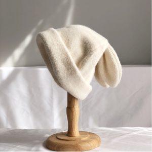 Soft Girl Kawaii Harajuku knitted wool Hat with Rabbit ears 21