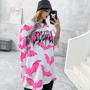 E-girl Soft Girl Kawaii Pastel Goth Pink Bat Graphic T-Shirt 1