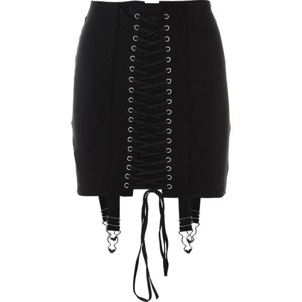 Pastel Gothic E-girl Punk Y2K Mini Lace Up Aesthetic Skirts 5