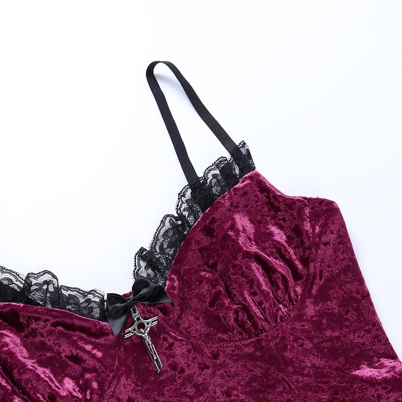 Aesthetic Gothic Egirl Grunge Vintage Velvet Mini Dresses 50
