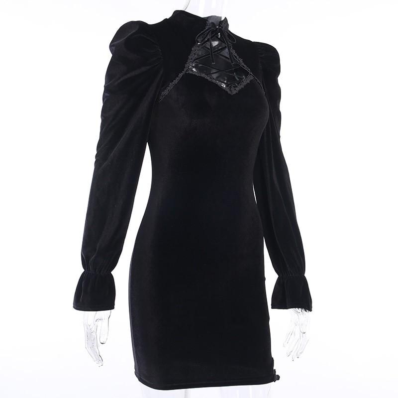 Gothic E-girl Vintage Elegant Black Velvet Dress 49