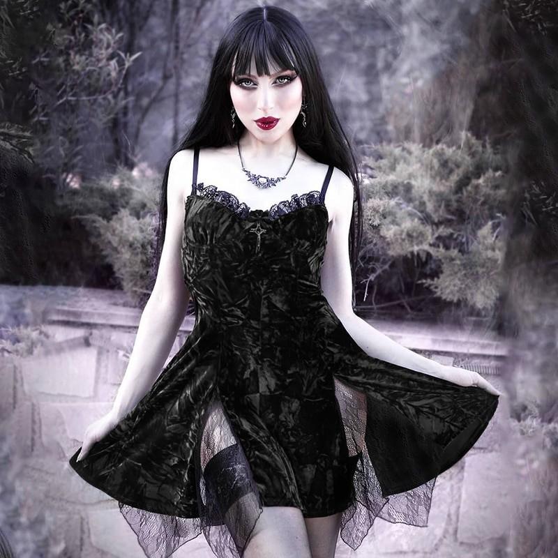 Aesthetic Gothic Egirl Grunge Vintage Velvet Mini Dresses 44