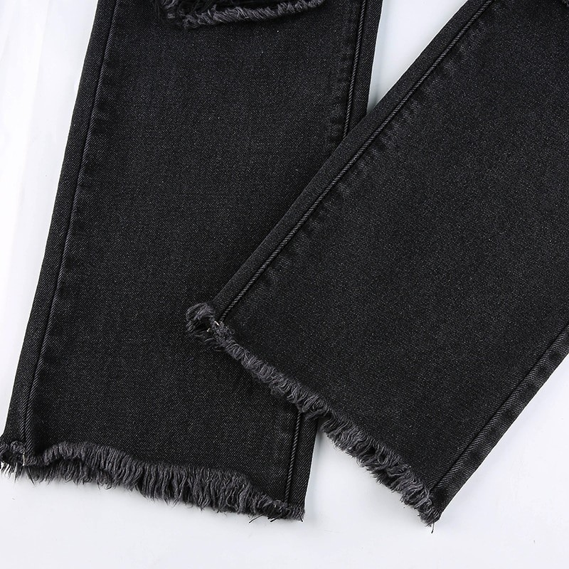 E-girl Punk Grunge Y2K High Waist Jeans with Holes 49