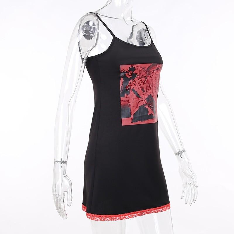 Aesthetic Pastel Gothic Egirl Mini Dress with Anime Death Note Print 47