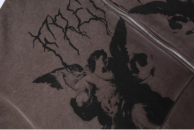Harajuku E-girl Gothic Hoodies with Gothic VIntage Angel Print 48