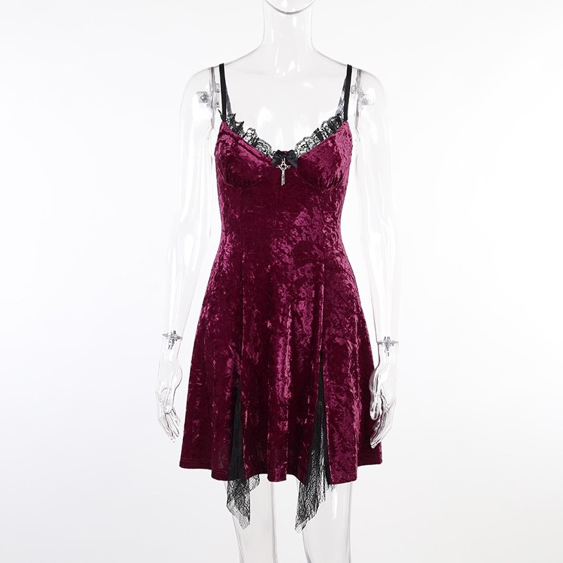 Aesthetic Gothic Egirl Grunge Vintage Velvet Mini Dresses 47
