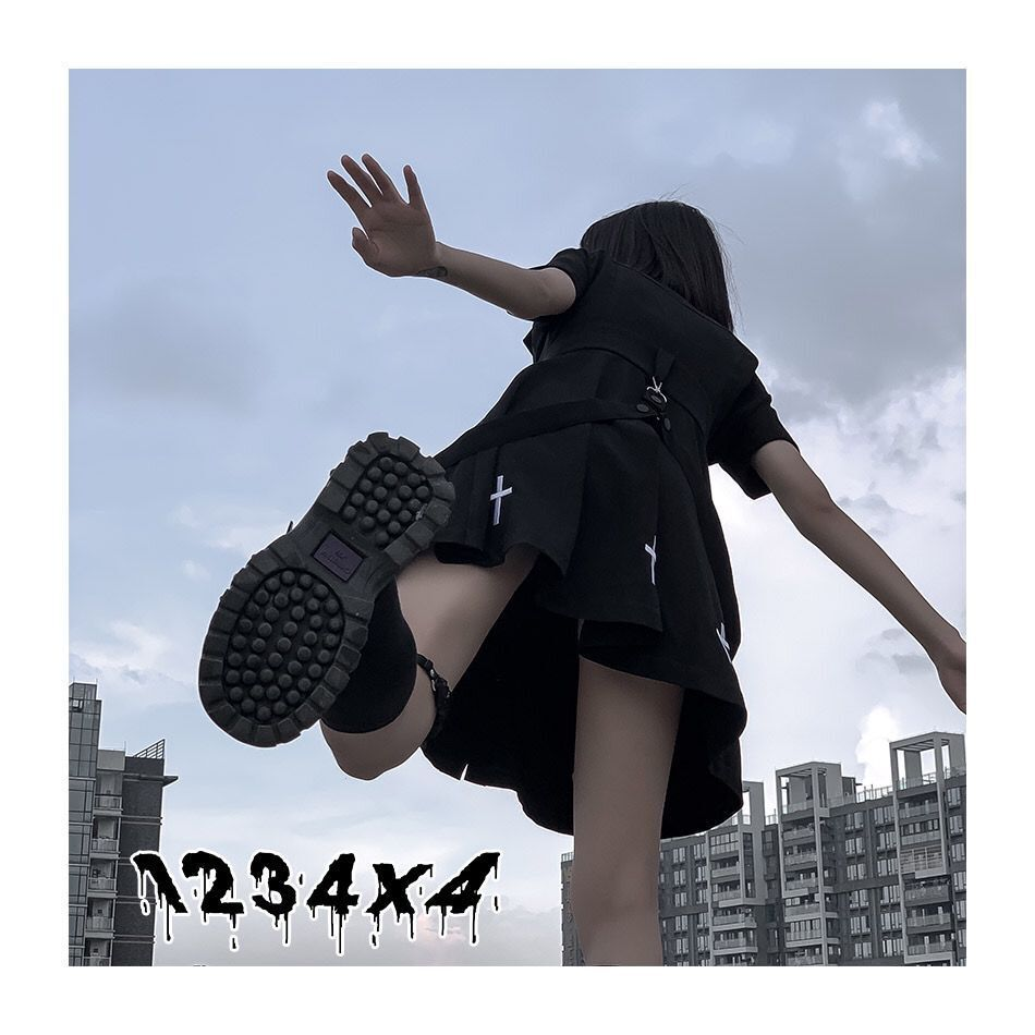E-girl Pastel Goth Harajuku Dress with cross 44
