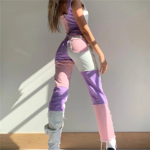 Y2K E-girl Aesthetic Cowboy Patchwork Jeans 3