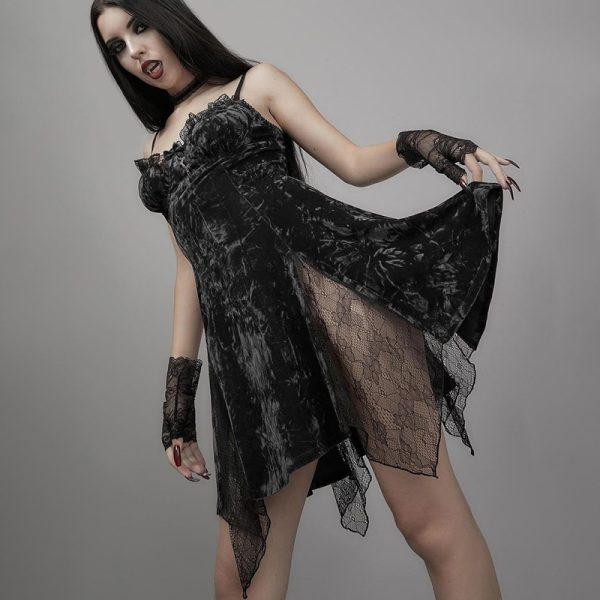 Aesthetic Gothic Egirl Grunge Vintage Velvet Mini Dresses 4