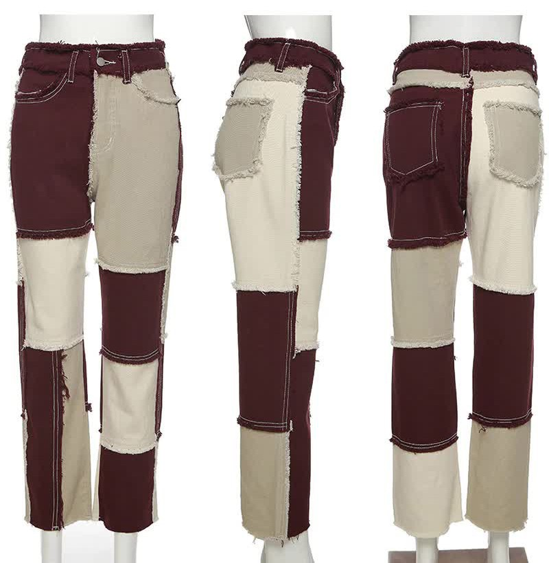 Y2K E-girl Aesthetic Cowboy Patchwork Jeans 41