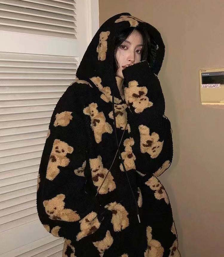 Harajuku Soft girl E-girl E-boy little bear Pattern furry Hoodie 41