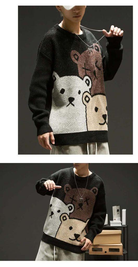 E-boy Harajuku Y2K Cartoon Bear Aesthetic Sweater 47