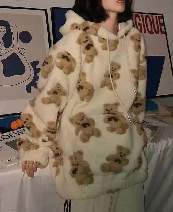 Harajuku Soft girl E-girl E-boy little bear Pattern furry Hoodie 44