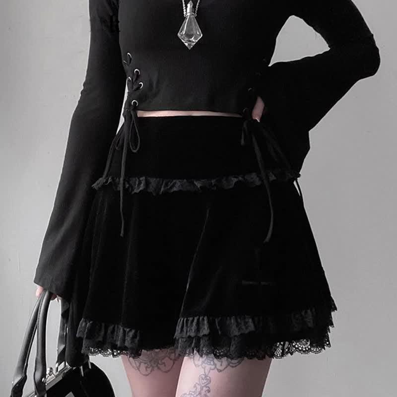 Aesthetic Pastel Gothic E-girl Velvet Mini Skirt with cross embroidery 52