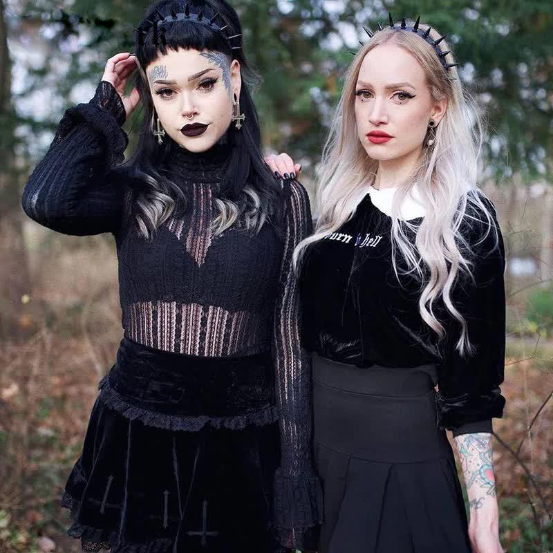 Aesthetic Pastel Gothic E-girl Velvet Mini Skirt with cross embroidery 54