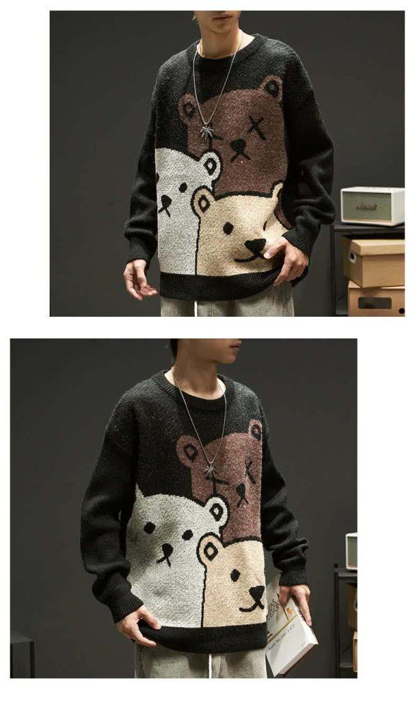 E-boy Harajuku Y2K Cartoon Bear Aesthetic Sweater 43