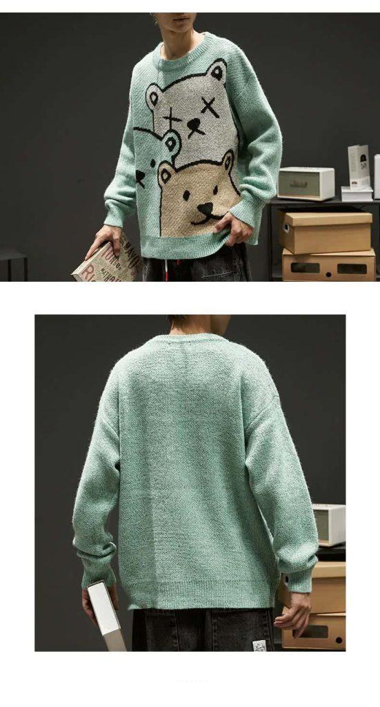 E-boy Harajuku Y2K Cartoon Bear Aesthetic Sweater 48