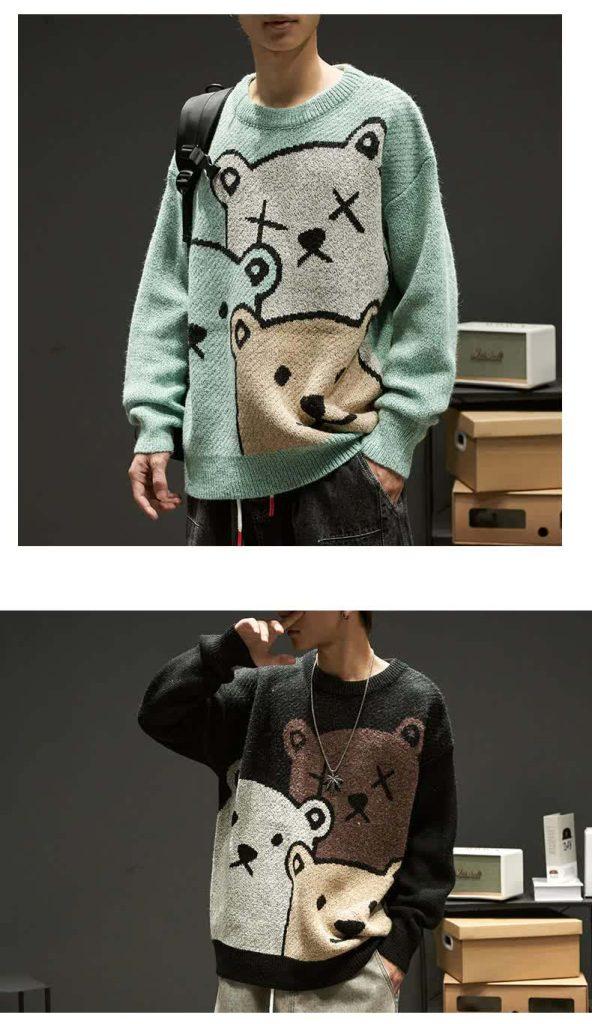 E-boy Harajuku Y2K Cartoon Bear Aesthetic Sweater 44