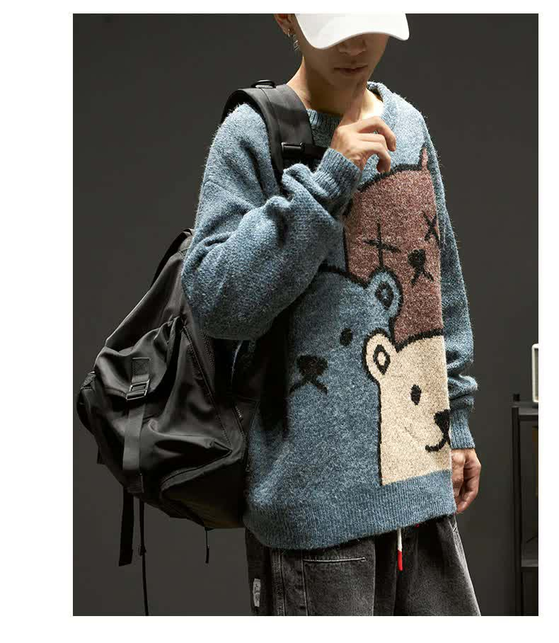E-boy Harajuku Y2K Cartoon Bear Aesthetic Sweater 45