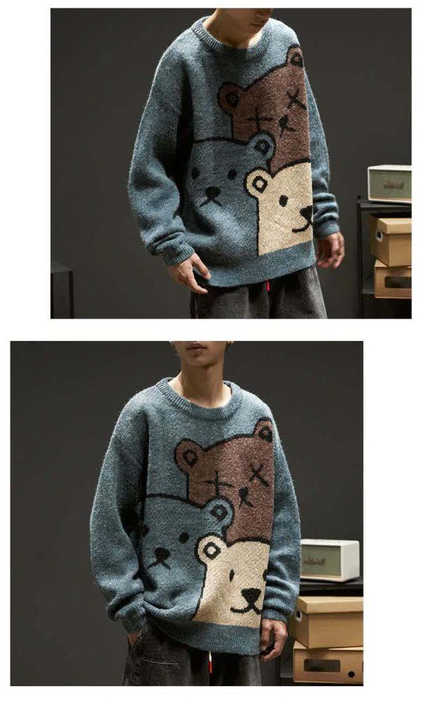 E-boy Harajuku Y2K Cartoon Bear Aesthetic Sweater 46
