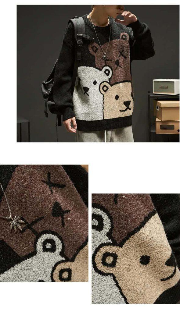E-boy Harajuku Y2K Cartoon Bear Aesthetic Sweater 49
