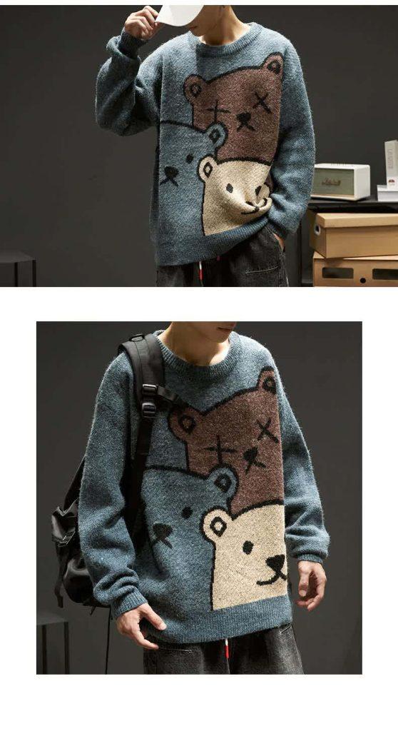 E-boy Harajuku Y2K Cartoon Bear Aesthetic Sweater 50