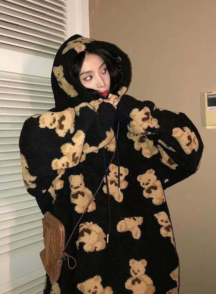 Harajuku Soft girl E-girl E-boy little bear Pattern furry Hoodie 49