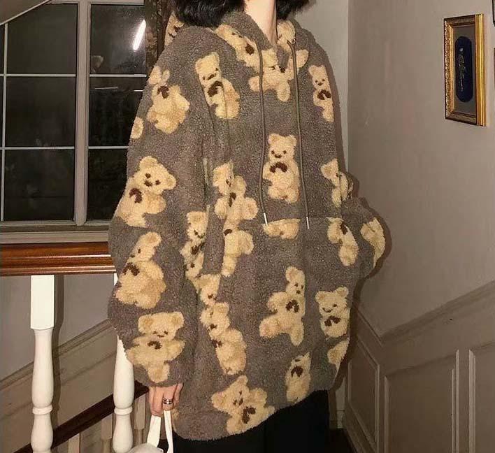 Harajuku Soft girl E-girl E-boy little bear Pattern furry Hoodie 51