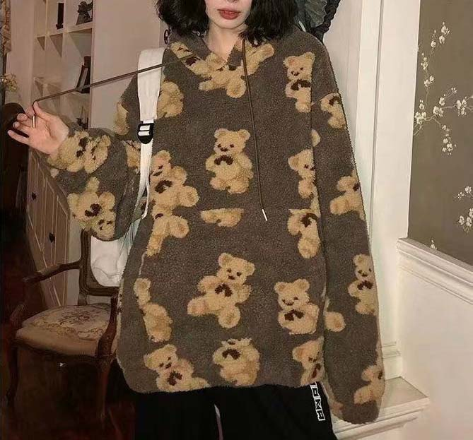 Harajuku Soft girl E-girl E-boy little bear Pattern furry Hoodie 52