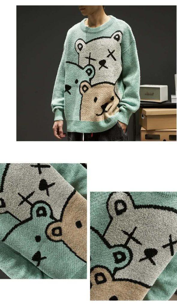 E-boy Harajuku Y2K Cartoon Bear Aesthetic Sweater 51
