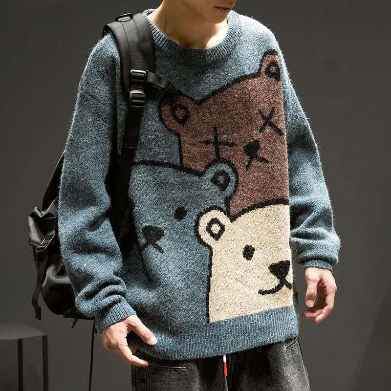 E-boy Harajuku Y2K Cartoon Bear Aesthetic Sweater 52