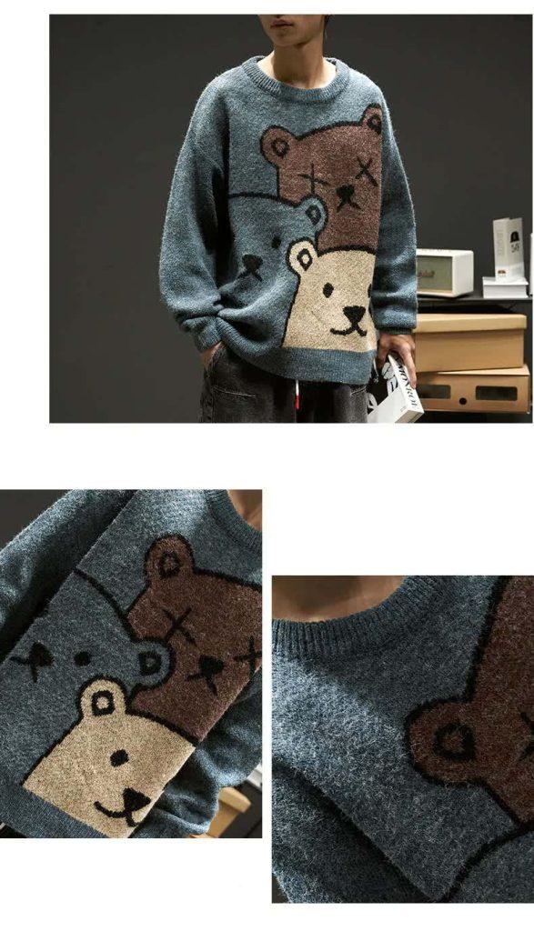E-boy Harajuku Y2K Cartoon Bear Aesthetic Sweater 53